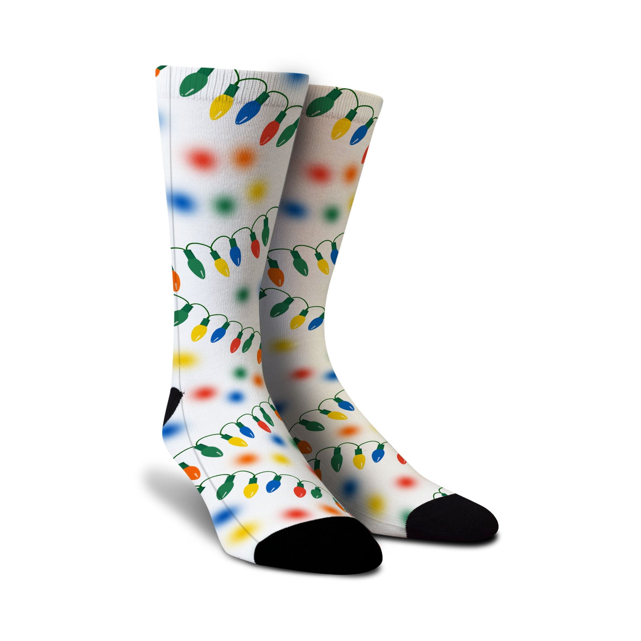 Cool designer men's women's ladies boys kids crew novelty socks with holiday christmas lights