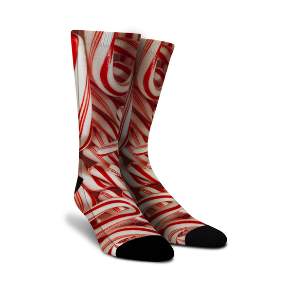 Crazy Christmas socks with candy canes printed on them