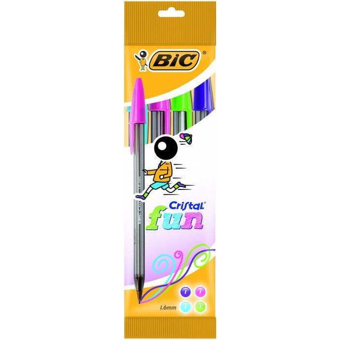 Boligrafo bic cristal Fun punta normal 4 colores