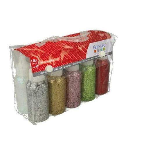 artemio set glitter glue 10005116 10x50ml