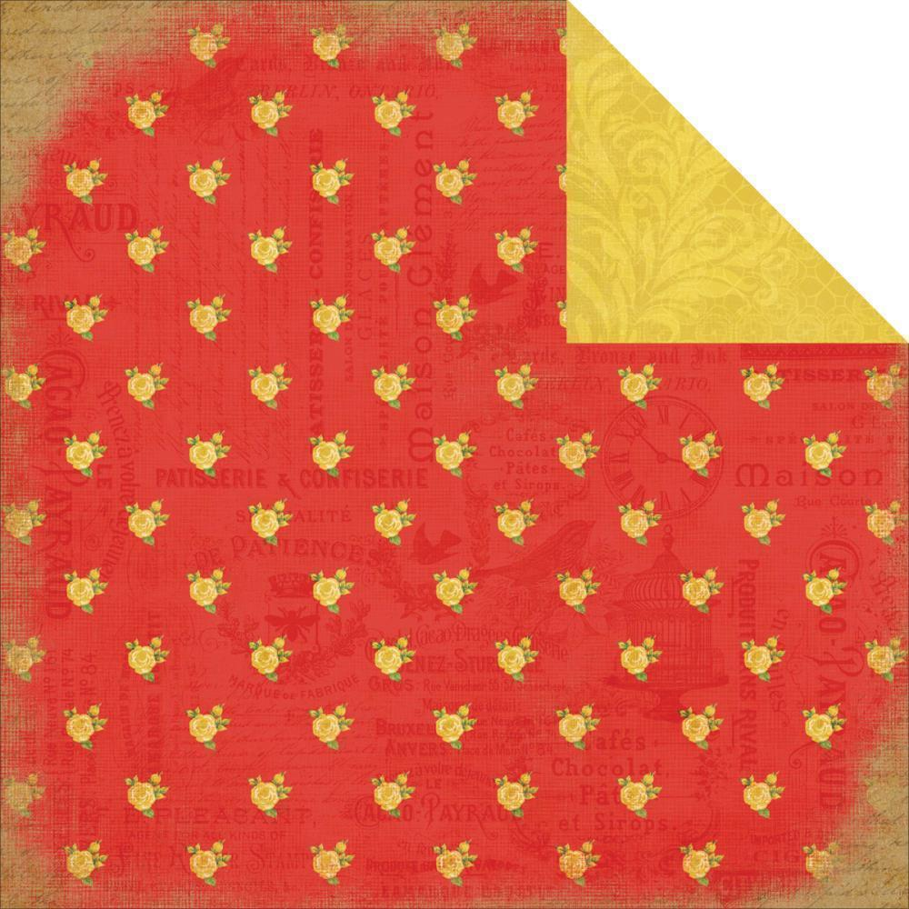 CB paper 30x30 yesterday RED FLORAL CB-YD35005 CARTA BELLA CENTROARTESANO
