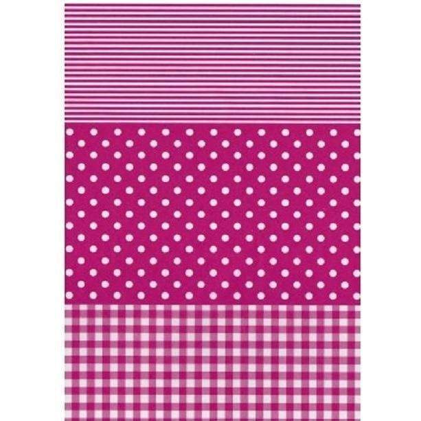 Papel Decopatch FDA486O Rayas y puntos Fucsia y blanco DECOPATCH CENTROARTESANO