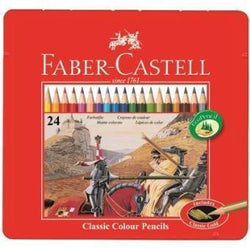 faber castell caja metal roja 24 lapices