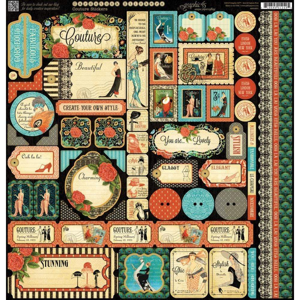 "Graphic45 Couture 12x12""  Pegatinas GRAPHIC 45 CENTROARTESANO"