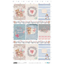 Papel arroz Papers for you 54x33cm PFY2269 cute little bunnies and bears PAPERS FOR YOU CENTROARTESANO