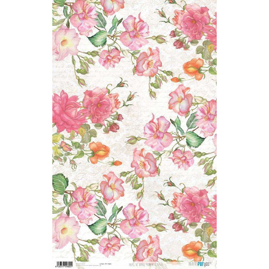 Papel arroz Papers for you PFY1800 romantic roses 54x33cm PEPERS FOR YOU CENTROARTESANO