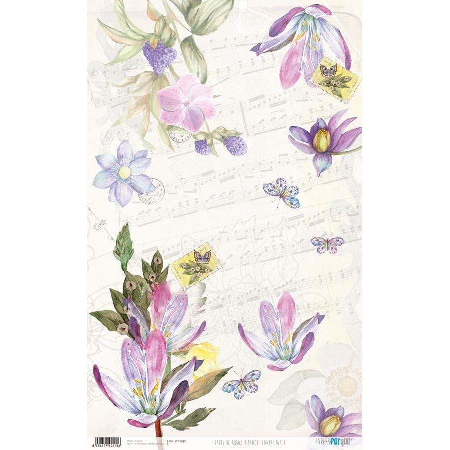 Papel arroz Papers for you PFY1818 Vintage flowers beige 54x33cm PEPERS FOR YOU CENTROARTESANO