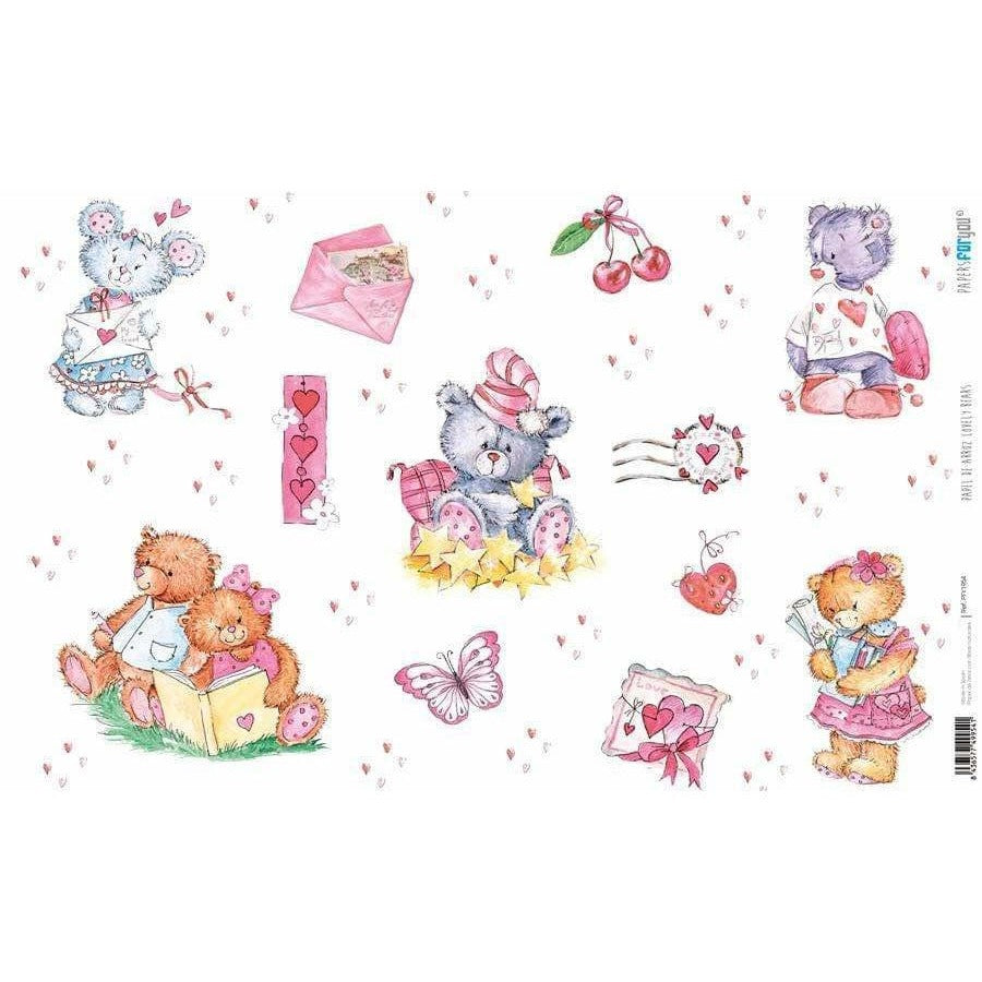 Papel arroz Papers for you PFY1954 lovely bears 54x33cm PEPERS FOR YOU CENTROARTESANO