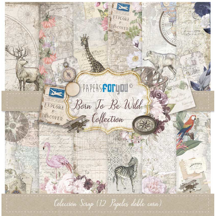 Papersforyou kit 12 papeles scrap PFY2238 born to be wild