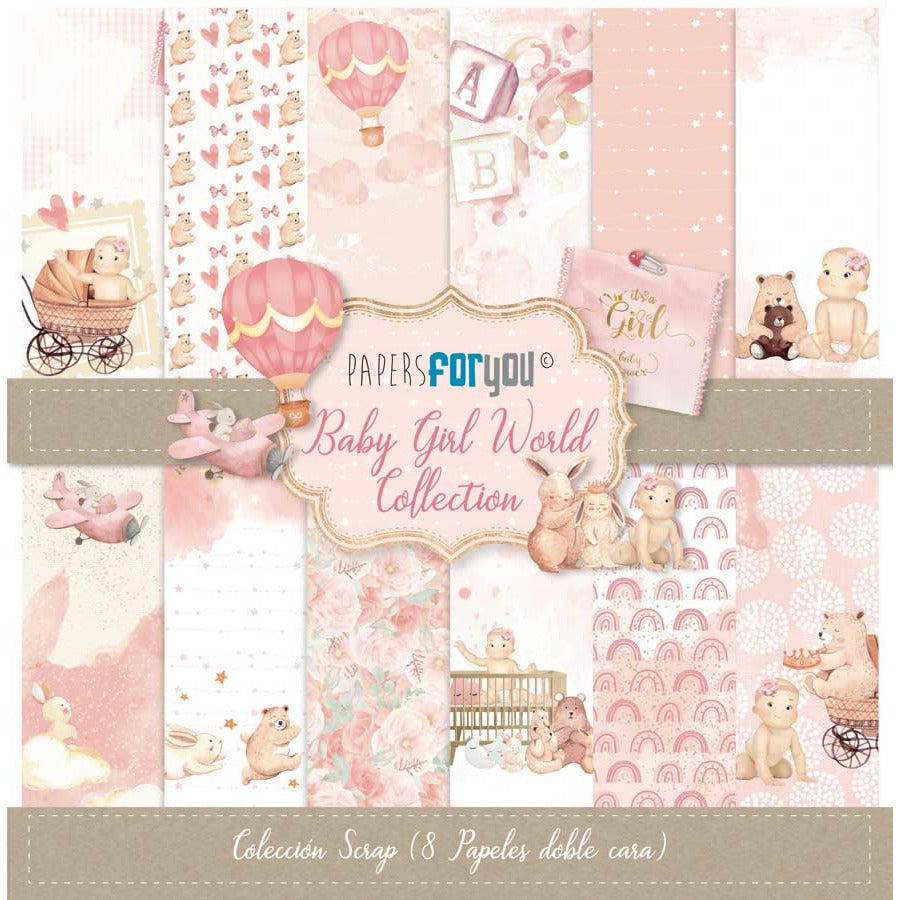 Papersforyou kit 8 papeles scrap PYF3450 Baby girl world PAPERS FOR YOU CENTROARTESANO