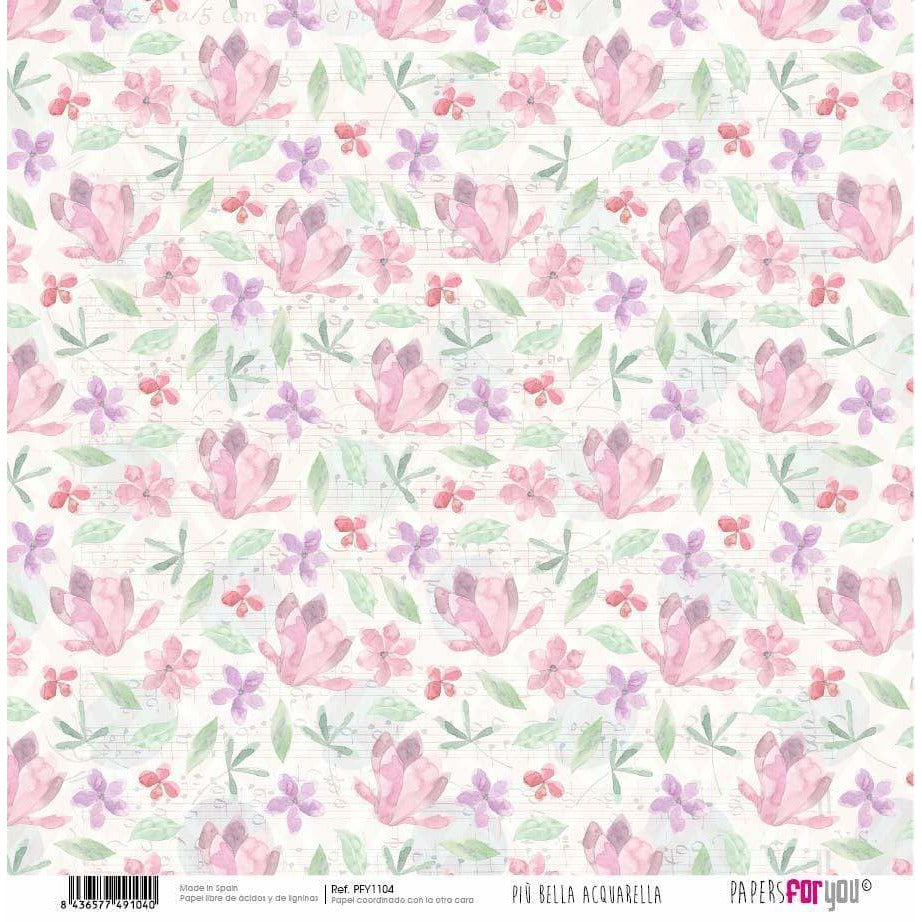 Papersforyou papel scrap  piu bella acquarella PFY1104 PEPERS FOR YOU CENTROARTESANO
