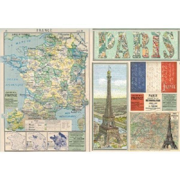 Stamperia papel arroz 48X33 DFS290 travel france map STAMPERIA Oferta CENTROARTESANO