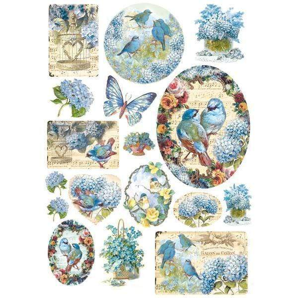 Stamperia papel arroz A4 DFSA4077 birds and light blue butterfly