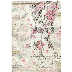 Stamperia papel arroz A4 DFSA4228 peach blossoms and writings