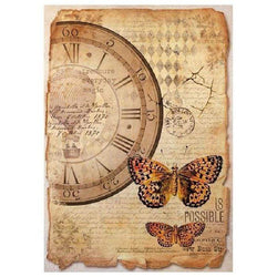 Stamperia papel arroz A4 DFSA4241 mix media clock and butterfly