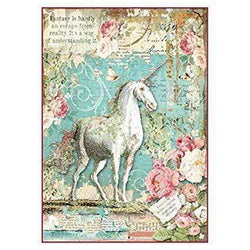 Stamperia papel arroz A4 DFSA4271 wonderland unicornio