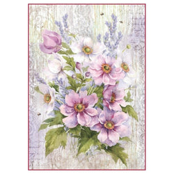 Stamperia papel arroz A4 DFSA4279 lilac bouquet