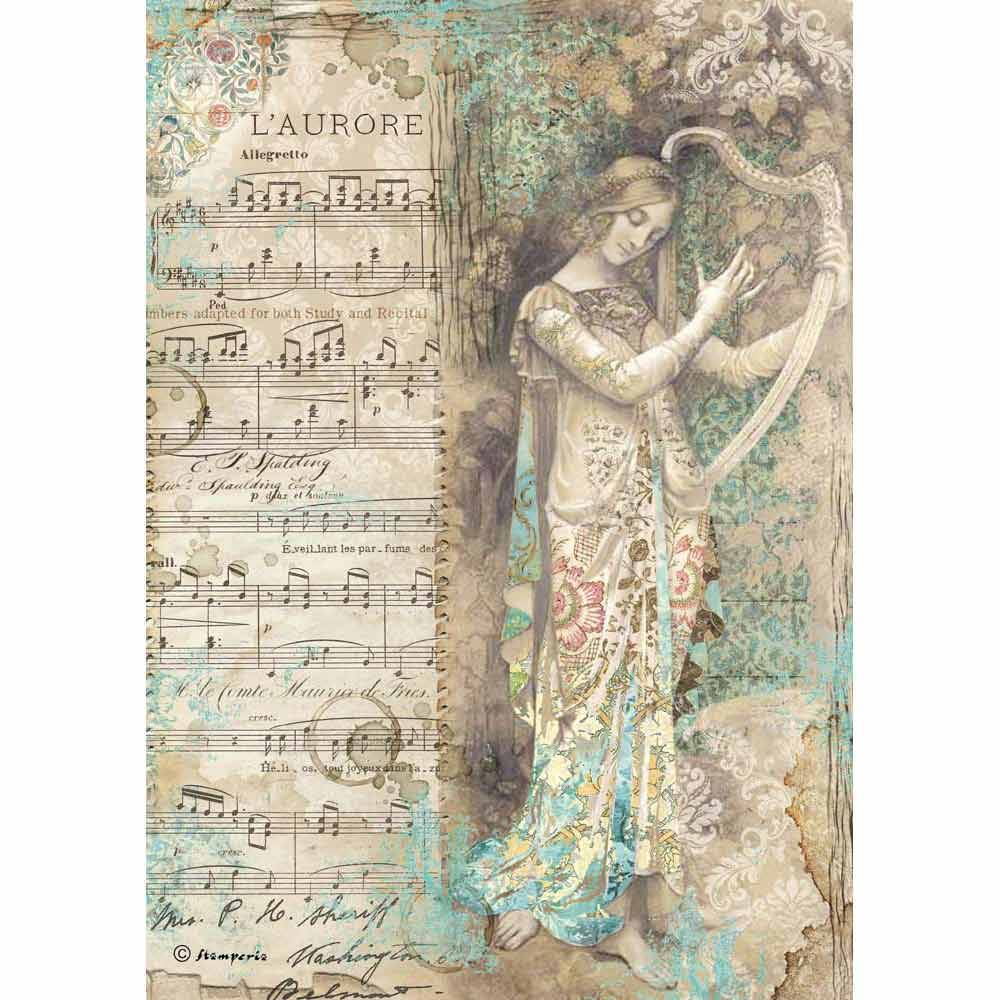 Stamperia papel arroz A4 DFSA4323 music lady with harp STAMPERIA CENTROARTESANO