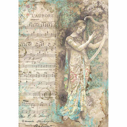 Stamperia papel arroz A4 DFSA4323 music lady with harp