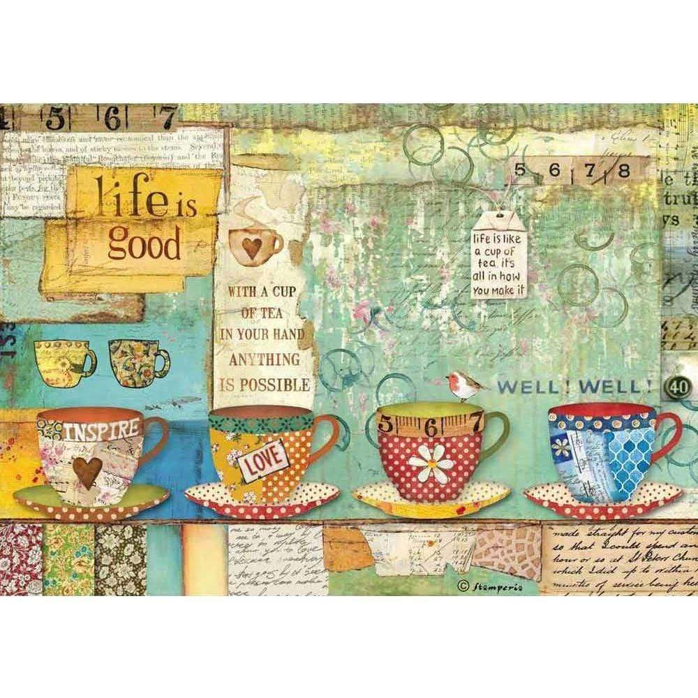 Stamperia papel arroz A4 DFSA4330 patchwork cups STAMPERIA CENTROARTESANO