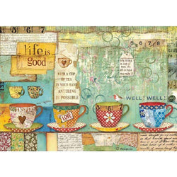 Stamperia papel arroz A4 DFSA4330 patchwork cups
