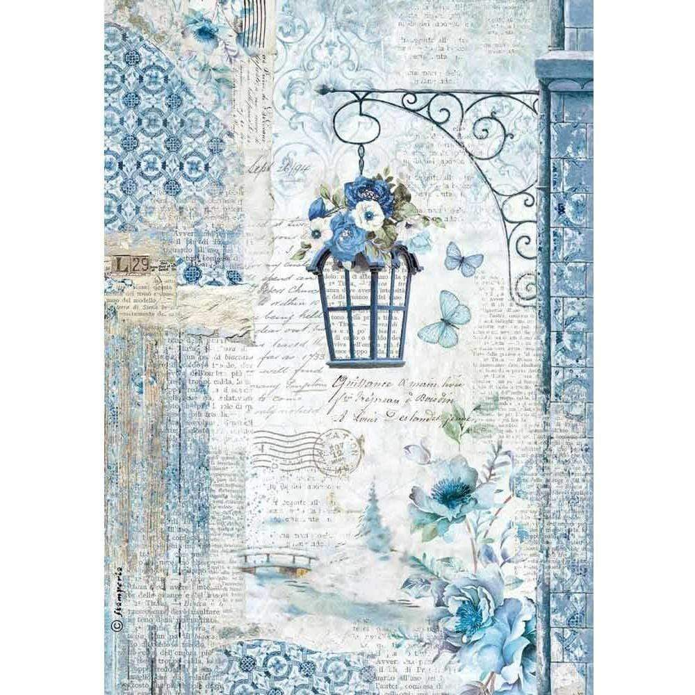 Stamperia papel arroz A4 DFSA4336 blue land lamp STAMPERIA CENTROARTESANO