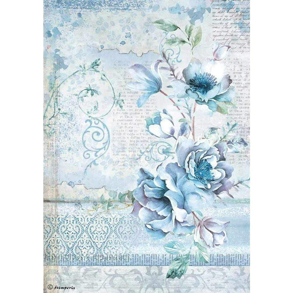 Stamperia papel arroz A4 DFSA4337 blue land flower STAMPERIA CENTROARTESANO