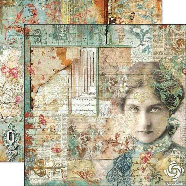 Stamperia papel scrap SBB518 time is an ilusion face