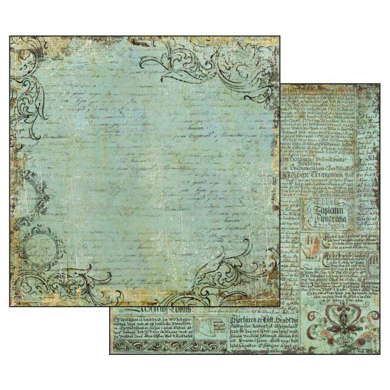 Stamperia papel scrap SBB527 alchemy manuscript turquoise background STAMPERIA CENTROARTESANO