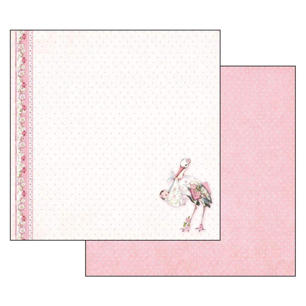 Stamperia papel scrap SBB549 baby girl stork STAMPERIA CENTROARTESANO