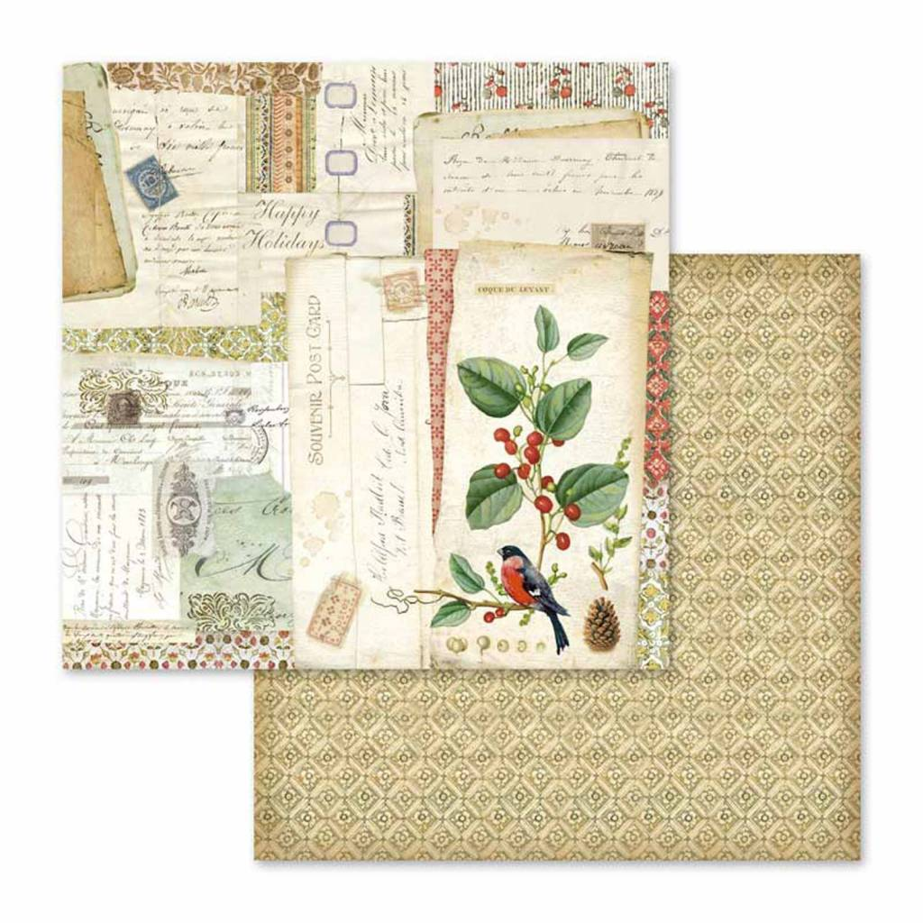 Stamperia papel scrap SBB574 winter botanic postcards STAMPERIA CENTROARTESANO