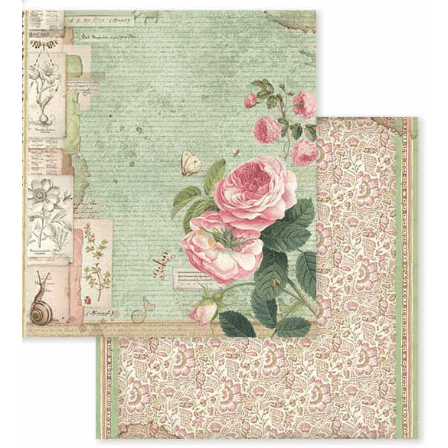 Stamperia papel scrap SBB592 spring botanic english rose with snail STAMPERIA CENTROARTESANO