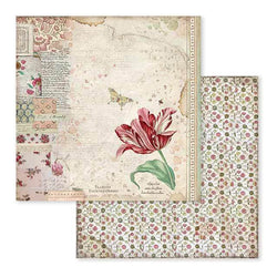 Stamperia papel scrap SBB604 spring botanic red tulip
