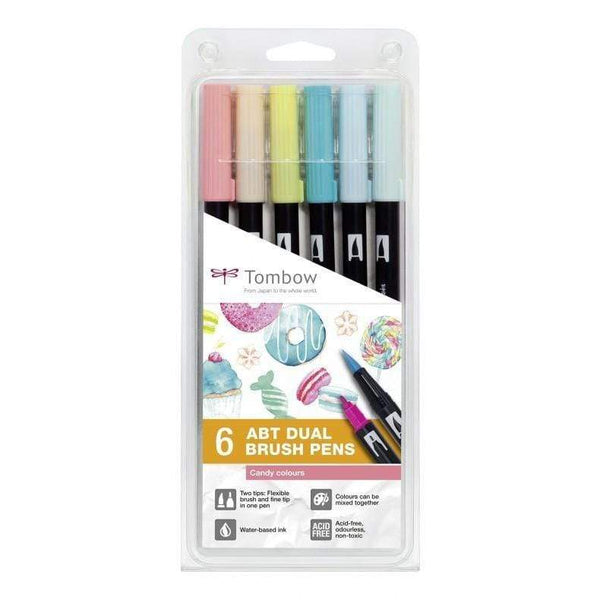 Tombow rotulador dual brush estuche 6 candy colours ABT6P4
