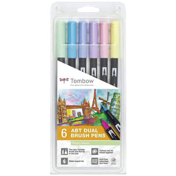 Tombow rotulador dual brush estuche 6 pastel colours ABT6P2