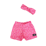 Baby Girls Pink Flower Shorts & Matching Headband