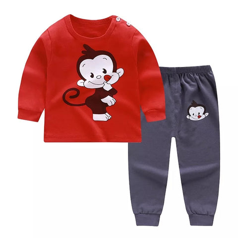 Baby Boys Red Monkey Pajamas