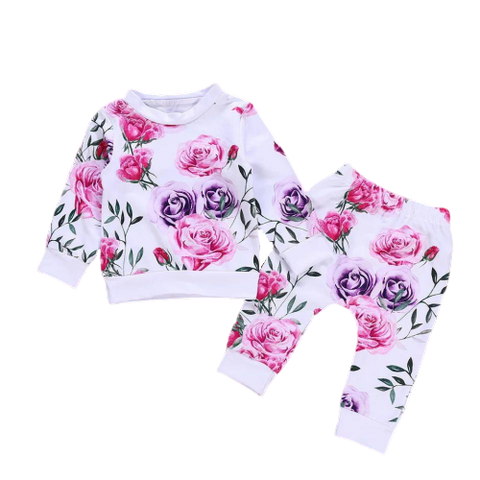Girls White Floral Tracksuit