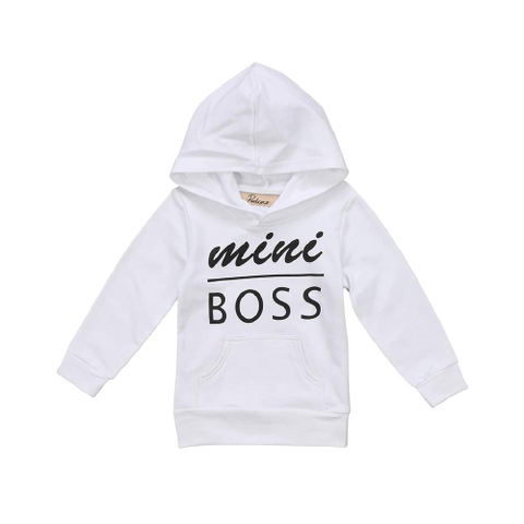 Boys/Girls White Mini Boss Hoodie