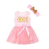 Girls 1st Birthday Sleeveless Tulle Dress & Headband