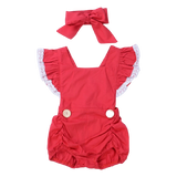 Baby Girls Red & White Lace Romper