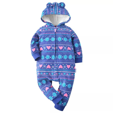 Baby Girls Navy, Pink & Blue Winter Babygrow