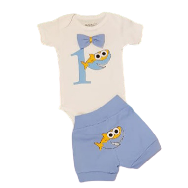 Birthday Short Sleeve Boys Shark Set