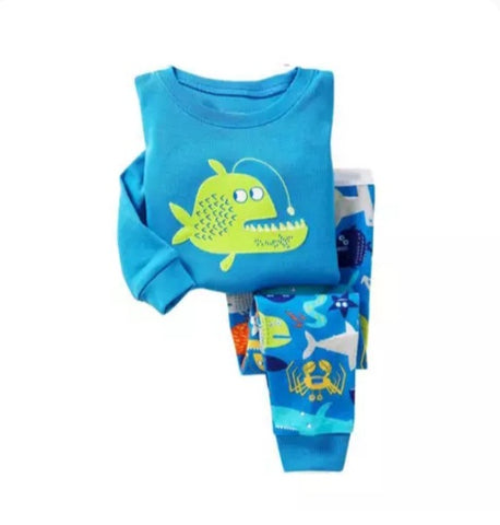 Boys Blue Fishy Pajamas