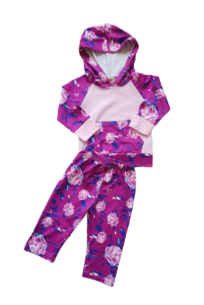 Girls Pink & Purple Floral Tracksuit