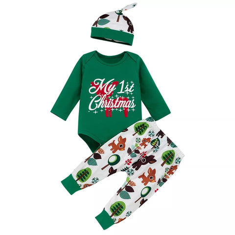 Green Deer Pants My 1st Christmas Set