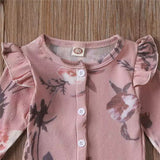 Baby Girls Mauve Flower Babygrow