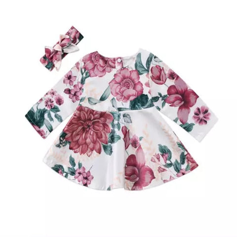 Baby Girls Long Sleeve Floral Dress
