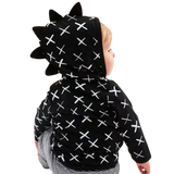 Boys Black & White Cross Dino Trim Hoodie