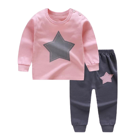 Girls Pink Star Pajamas